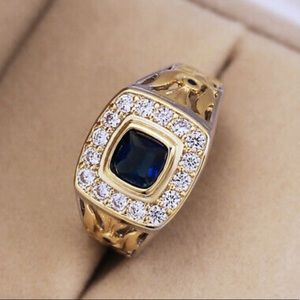 NEW Two Tone Ring for Men/women 925 Silver Blue